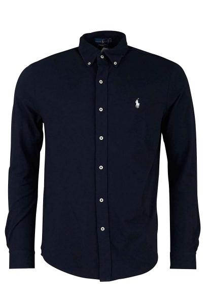 Chemise manches longues logo Bleu marine