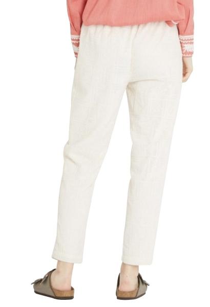 Pantalon fluide imprimé ton sur ton POUPY Blanc