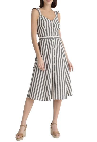 Robe longue rayée VALLAURIS Blanc/noir
