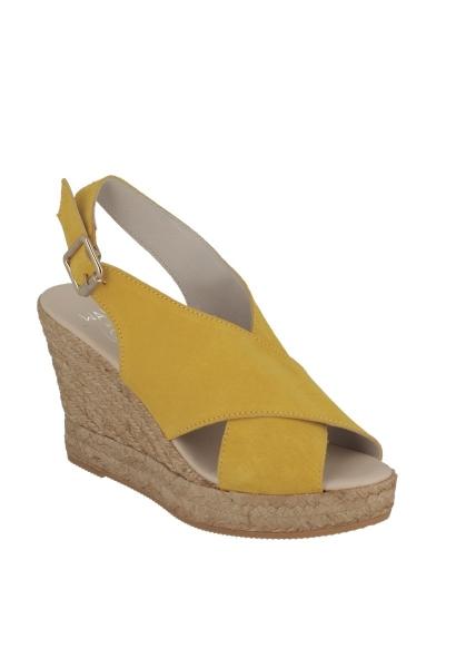 Sandale compensée croisée Citron
