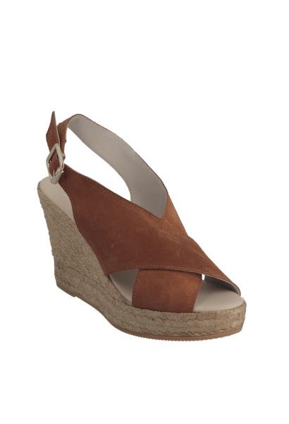 Sandale compensée croisée Camel