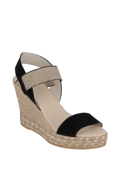 Sandale compensée élastique Noir