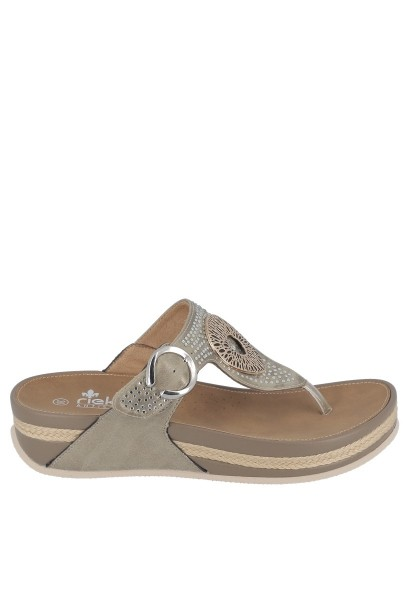 Sandales entredoigts avec strass VIGO Beige