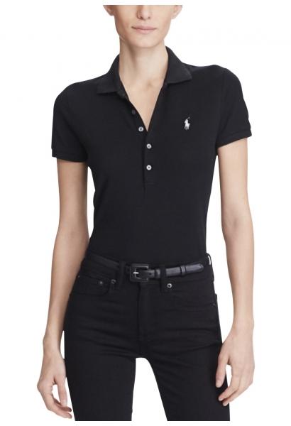 Polo skinny manches courtes logo Noir