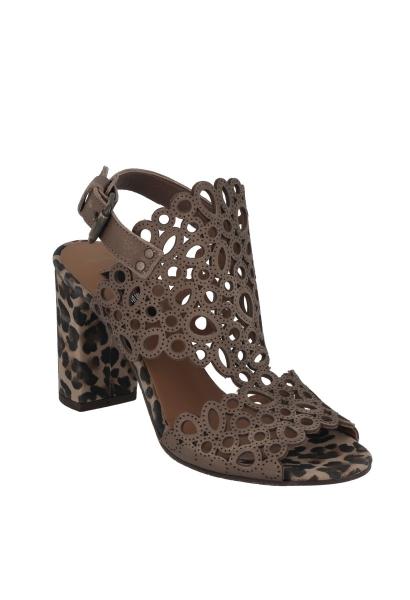 Sandale à talon léopard Camel