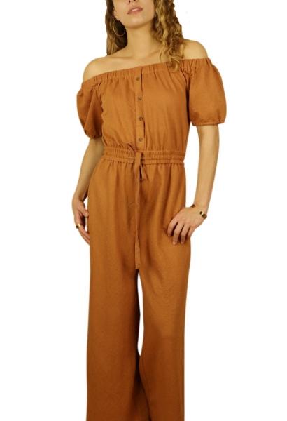 Combipantalon épaules dénudées large Camel