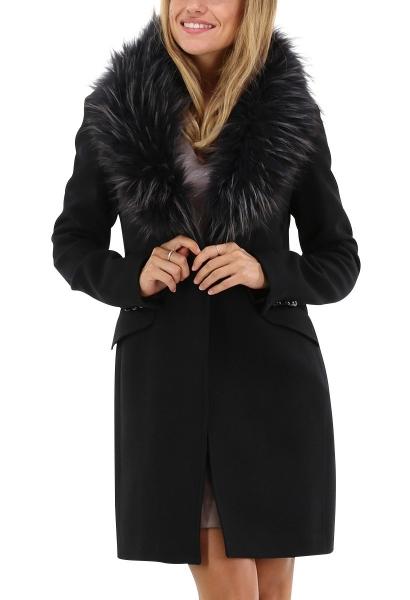 Manteau col fourrure JOLUKAFUR Noir
